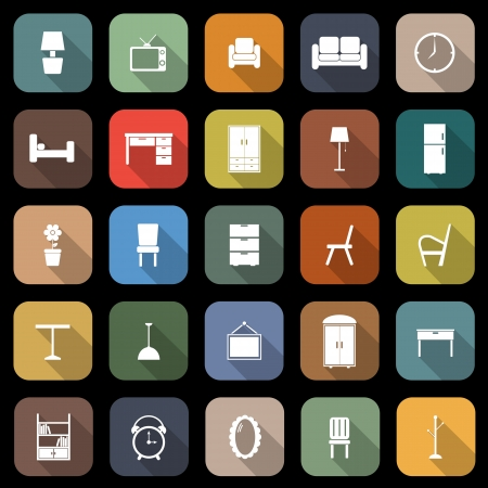 Furniture flat icons with long shadow, stock