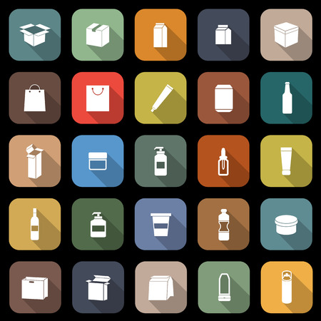 Packaging flat icons with long shadow