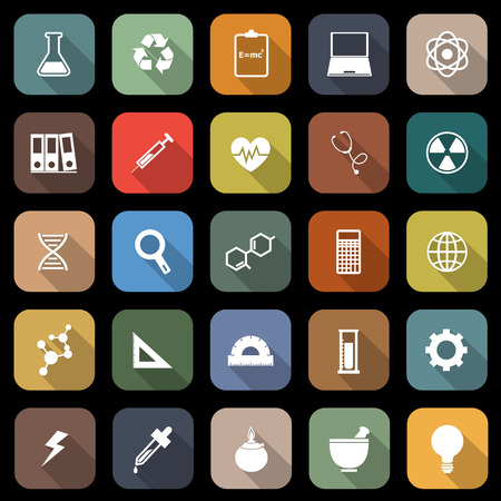 sciences: Science flat icons with long shadow, stock vector