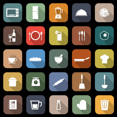 Kitchen flat icons with long shadow, stock vector Vector