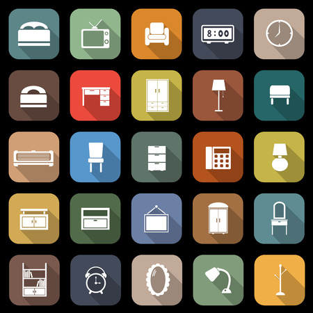 Bedroom flat icons with long shadow, stock vector