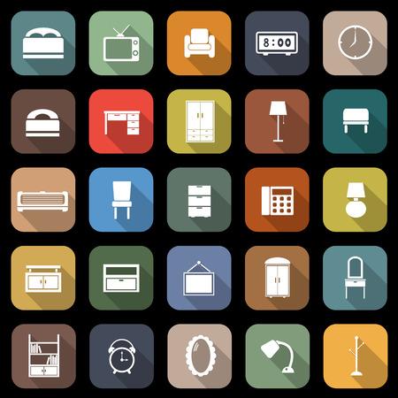 Slaapkamer appartement iconen met lange schaduw, stock vector Stock Illustratie
