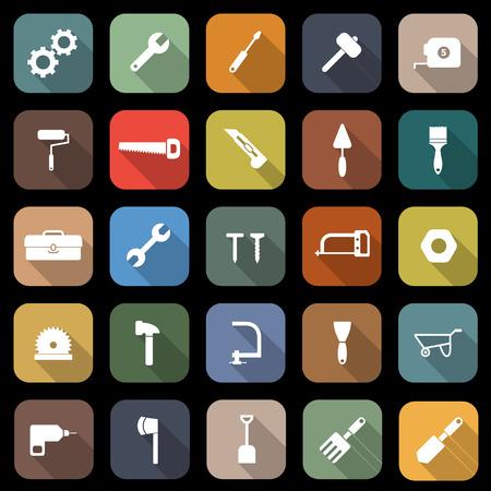 Icone piane utensili con lunga ombra, stock vector Archivio Fotografico - 25960546