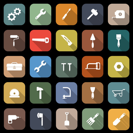Tool flat icons with long shadow, stock vector Illustration