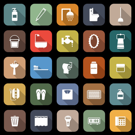 implements: Bathroom flat icons with long shadow, stock vector Illustration
