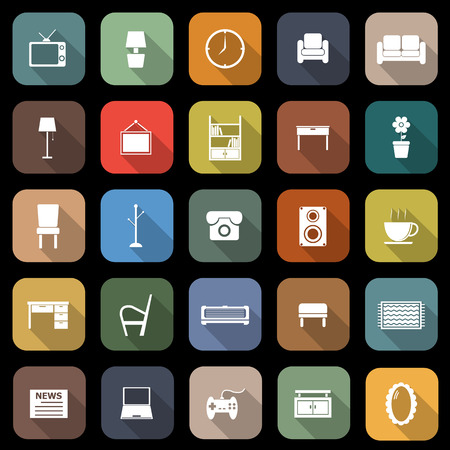 Living room flat icons with long shadow, stock vector Vector