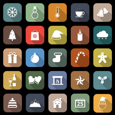 Winter flat icons with long shadow, stock vector Illustration
