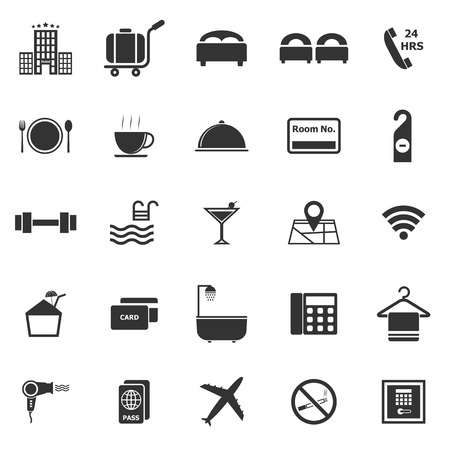Hotel icons on white background Vector