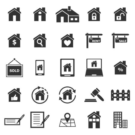 real estate background: Real estate icons on white background