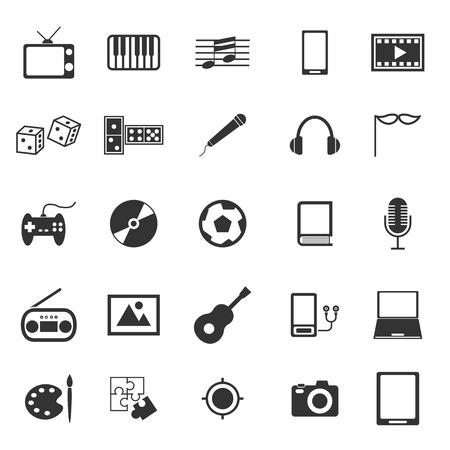 joypad: Entertainment icons on white background Illustration