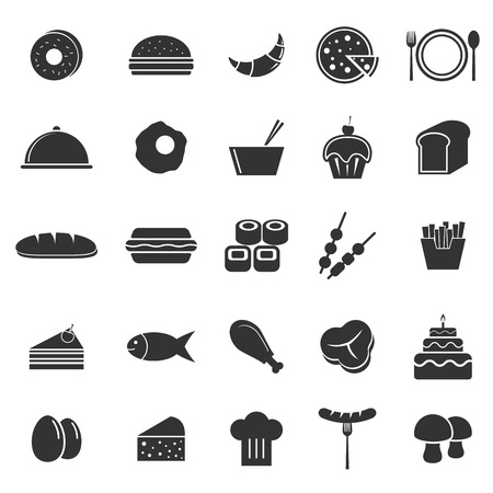 continental food: Food icons on white background
