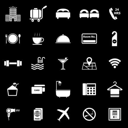 Hotel icons on black background Banco de Imagens - 26778327