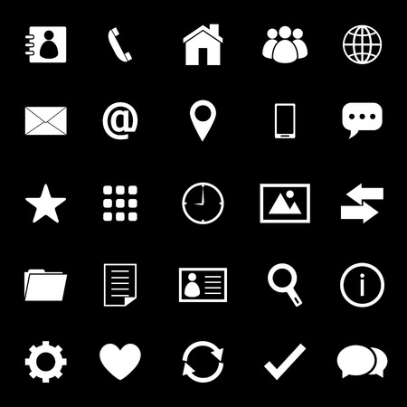Contact icons on black background Vector