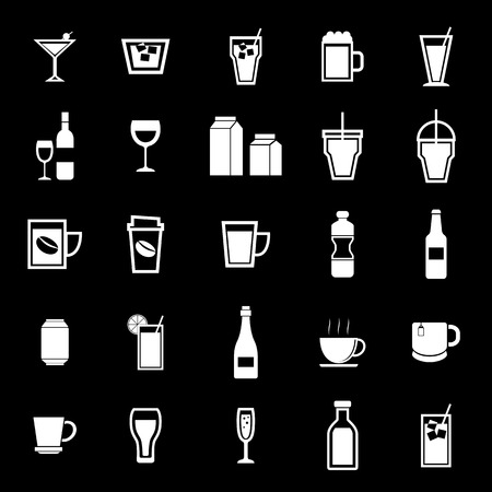 spirituous: Drink icons on black background