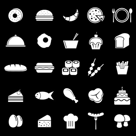 continental: Food icons on black background