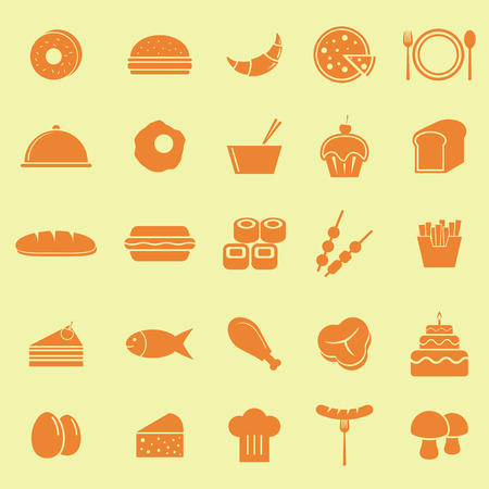 continental food: Food color icons on yellow background, stock vector