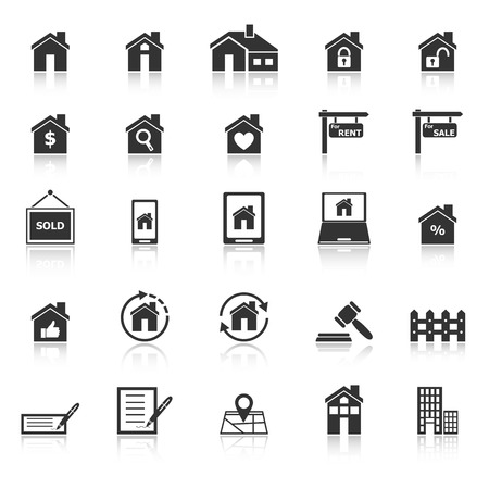 reflect: Real estate icons with reflect on white background