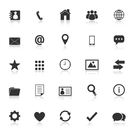 Contact icons with reflect on white background Ilustração
