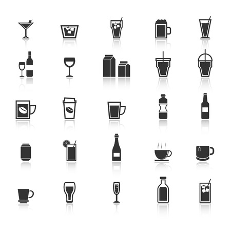 spirituous: Drink icons with reflect on white background
