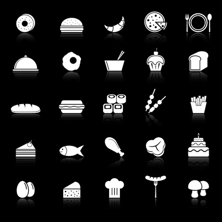 continental food: Food icons with reflect on black background, stock vector Illustration