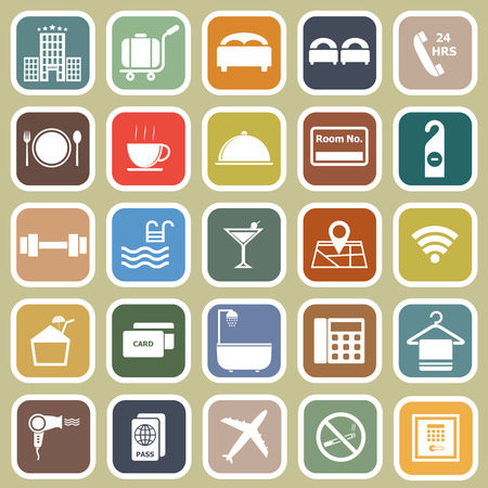 Hotel flat icons on yellow background, stock vector Ilustração
