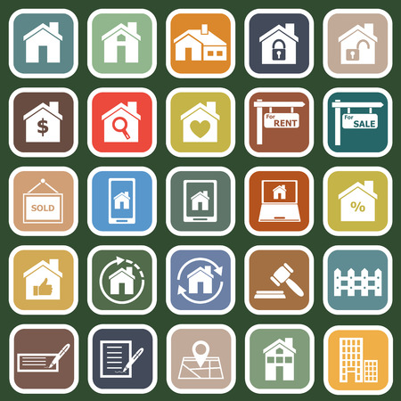 Real estate flat icons on green background, stock vector Иллюстрация