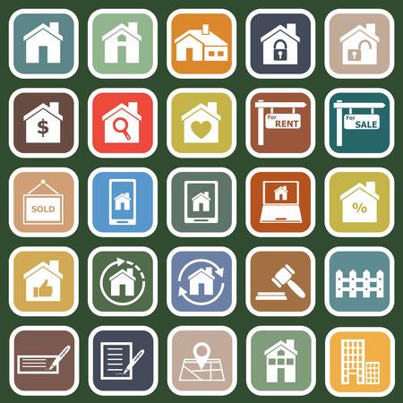 Real estate flat icons on green background, stock vector Ilustração