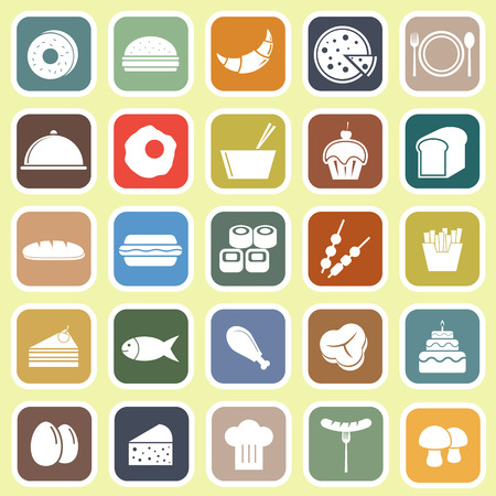 Food flat icons on yellow background, stock vector Vector