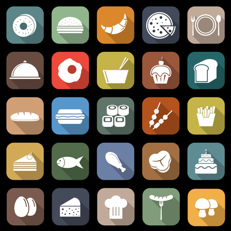 continental food: Food flat icons with long shadow, stock vector Illustration