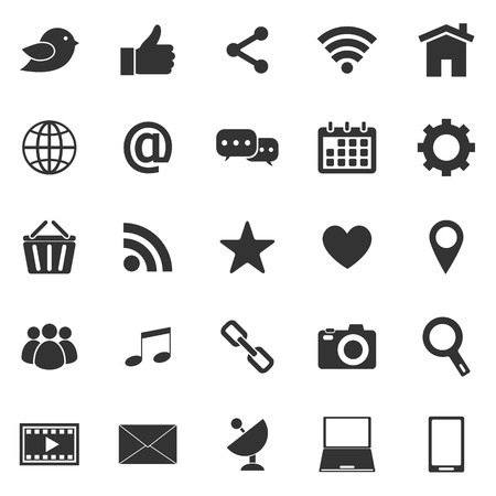 information technology icons: Social media icons on white background Illustration