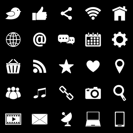 Social media icons on black background Vector