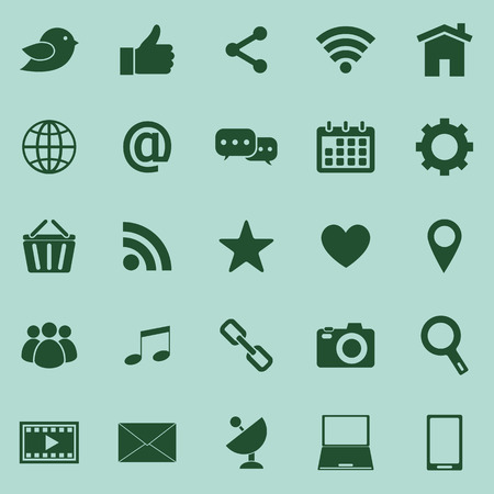 Social media color icons on green background Vector