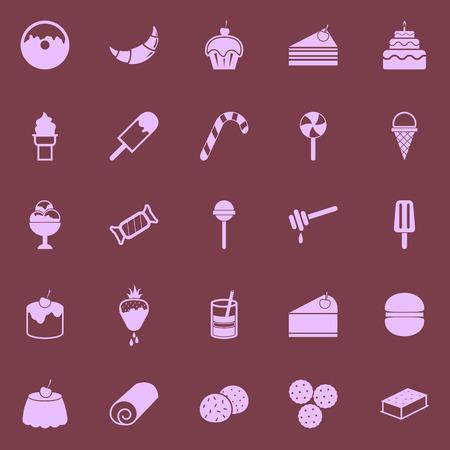 Dessert color icons on dark background Vector