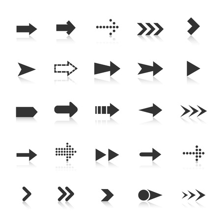 score under: Arrow icons with reflect on white background