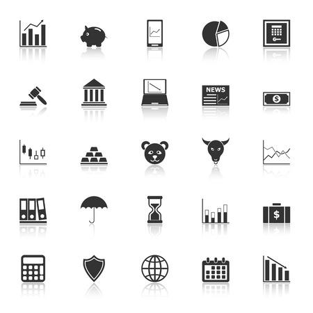 Stock market icons with reflect on white background 向量圖像