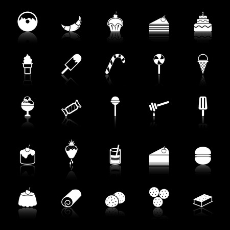 Dessert icons with reflect on black background Vector