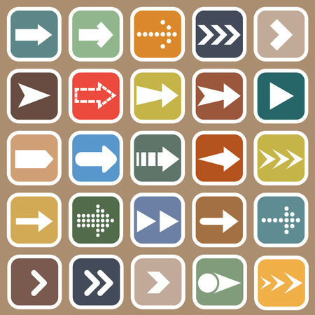 Arrow flat icons on brown background Vector