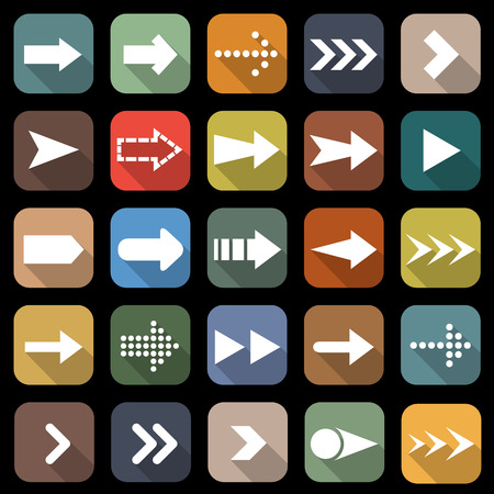 Arrow flat icons with long shadow Vector