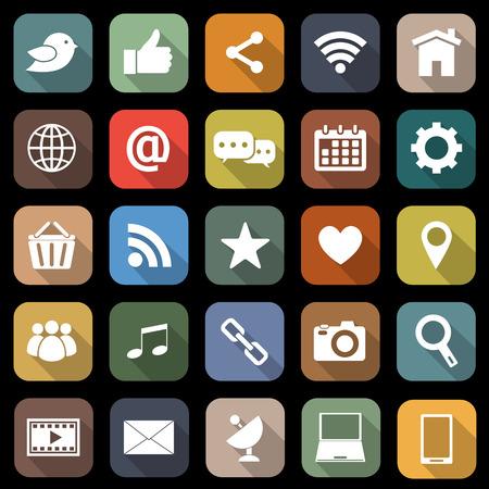 長い影とソーシャル メディア フラット アイコン