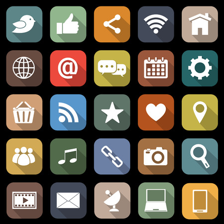 Social media flat icons with long shadow Vector