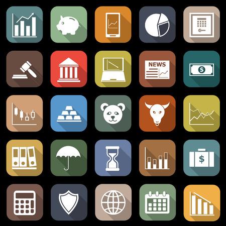 Stock market flat icons with long shadow Ilustração