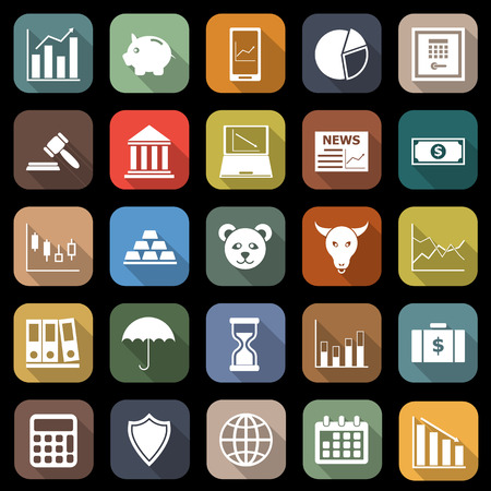 Stock market flat icons with long shadow Illustration