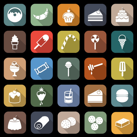 Dessert flat icons with long shadow Vector