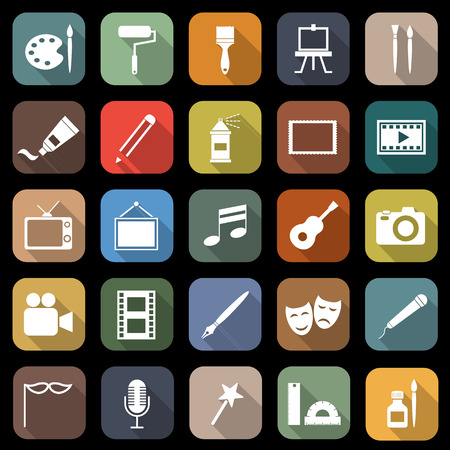 Art flat icons with long shadow Иллюстрация