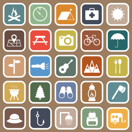 camp fire: Camping flat icons on brown background