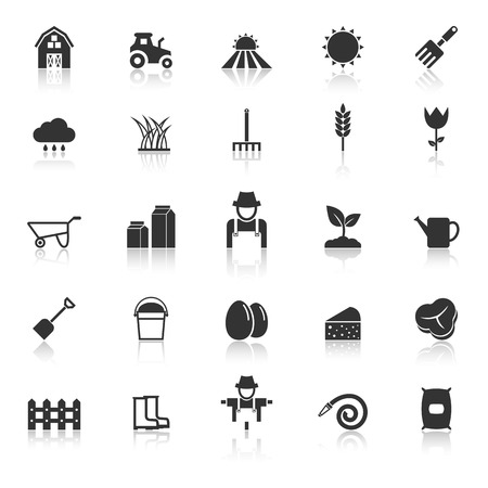 Farming icons with reflect on white background Иллюстрация
