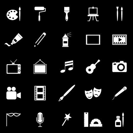 aerografo: Iconos del arte en fondo negro
