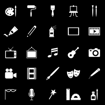 Art icons on black background