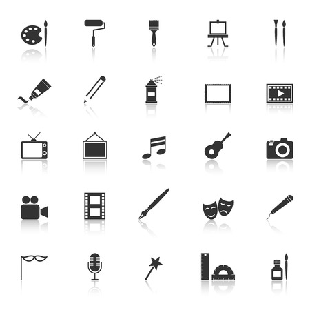 art palette: Art icons with reflect on white background Illustration