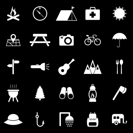 Camping icons on black background Vector